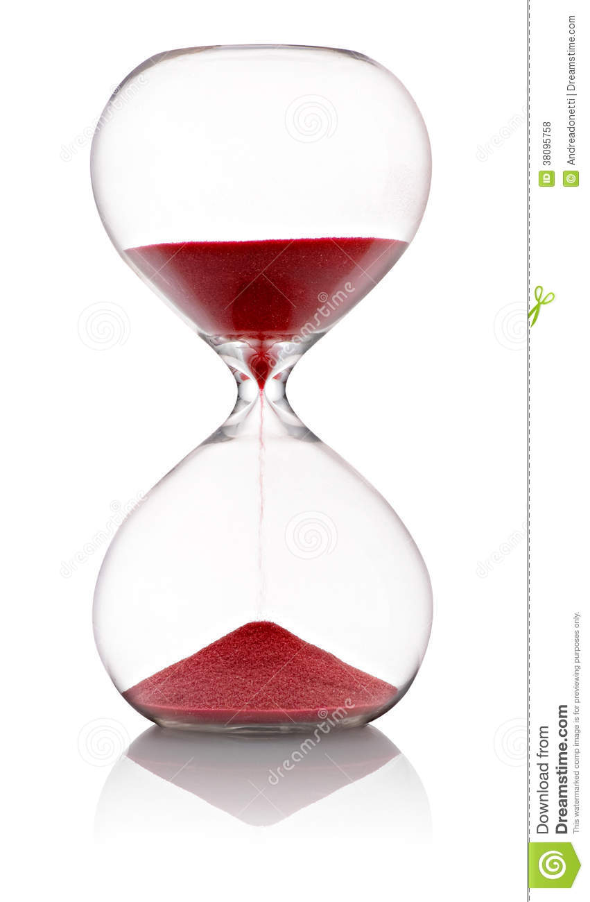 hourglass with red sand running through stock photo