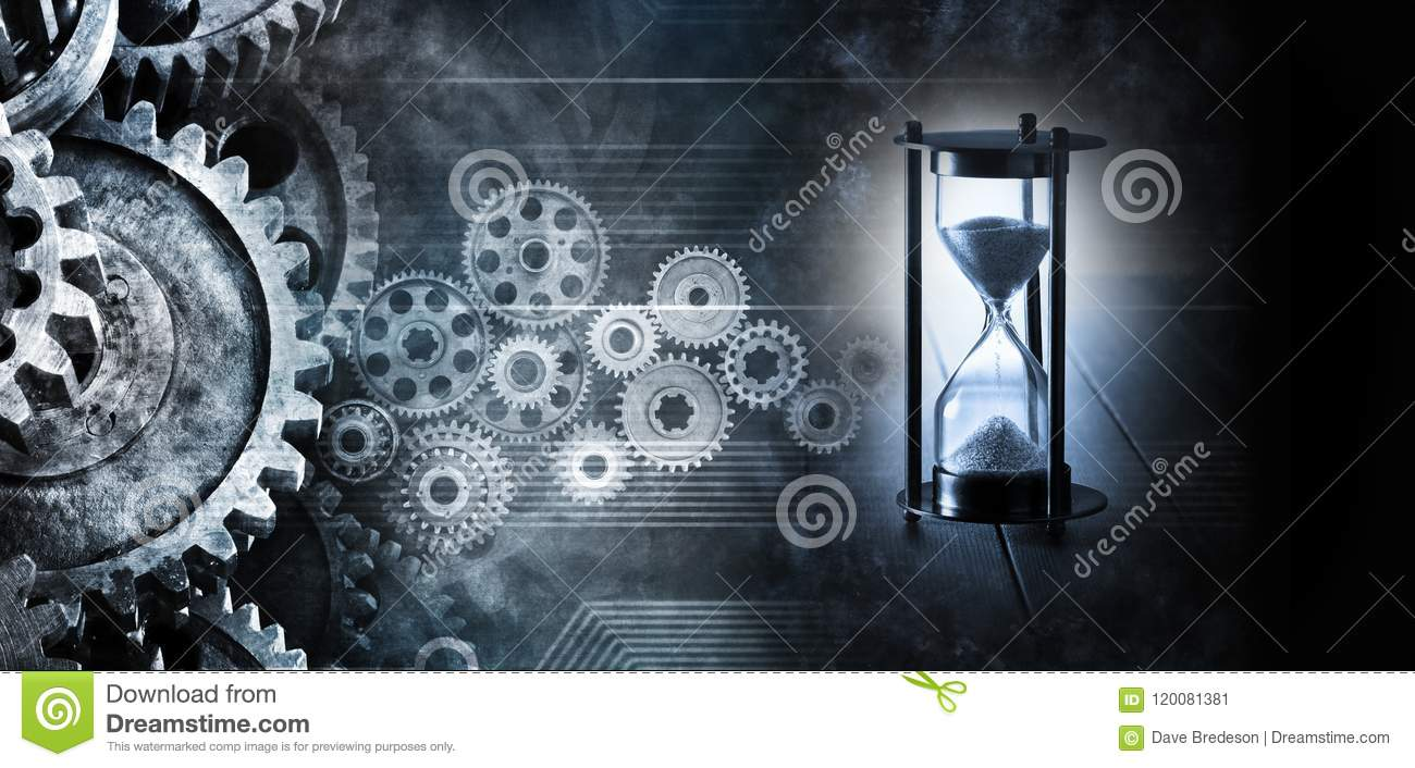 Hourglass Time Cogs Gears Business Background