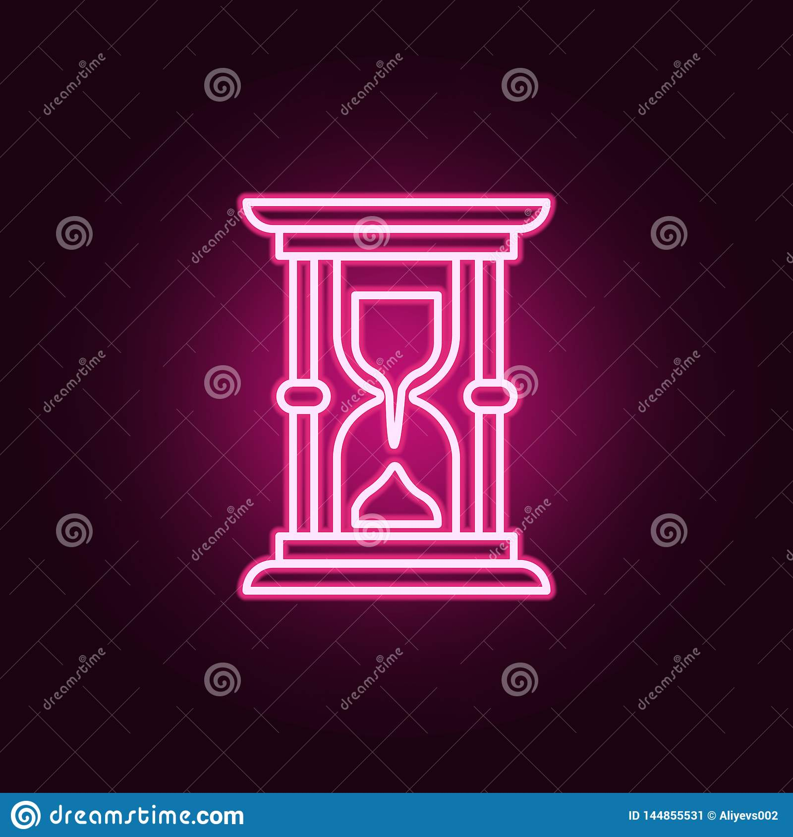 Hourglass, time neon icon. Elements of Law & Justice set. Simple icon for websites, web design, mobile app, info graphics