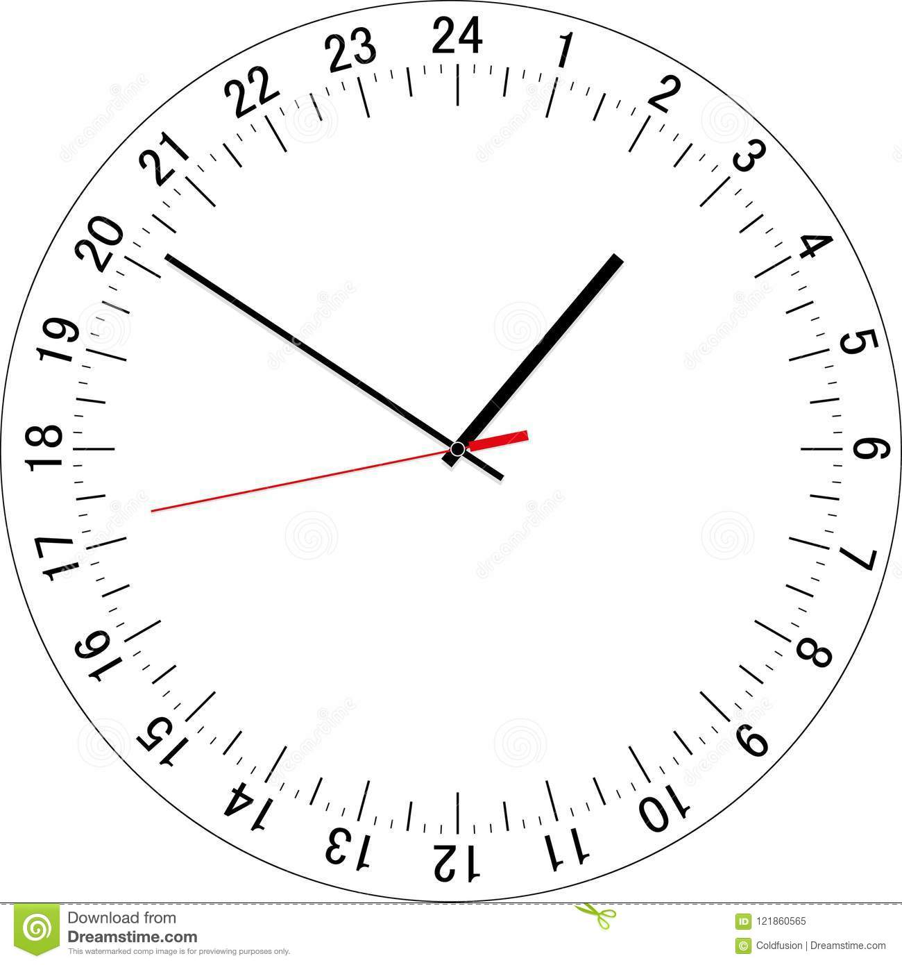 24 hours clock dial  vector illustration stock vector