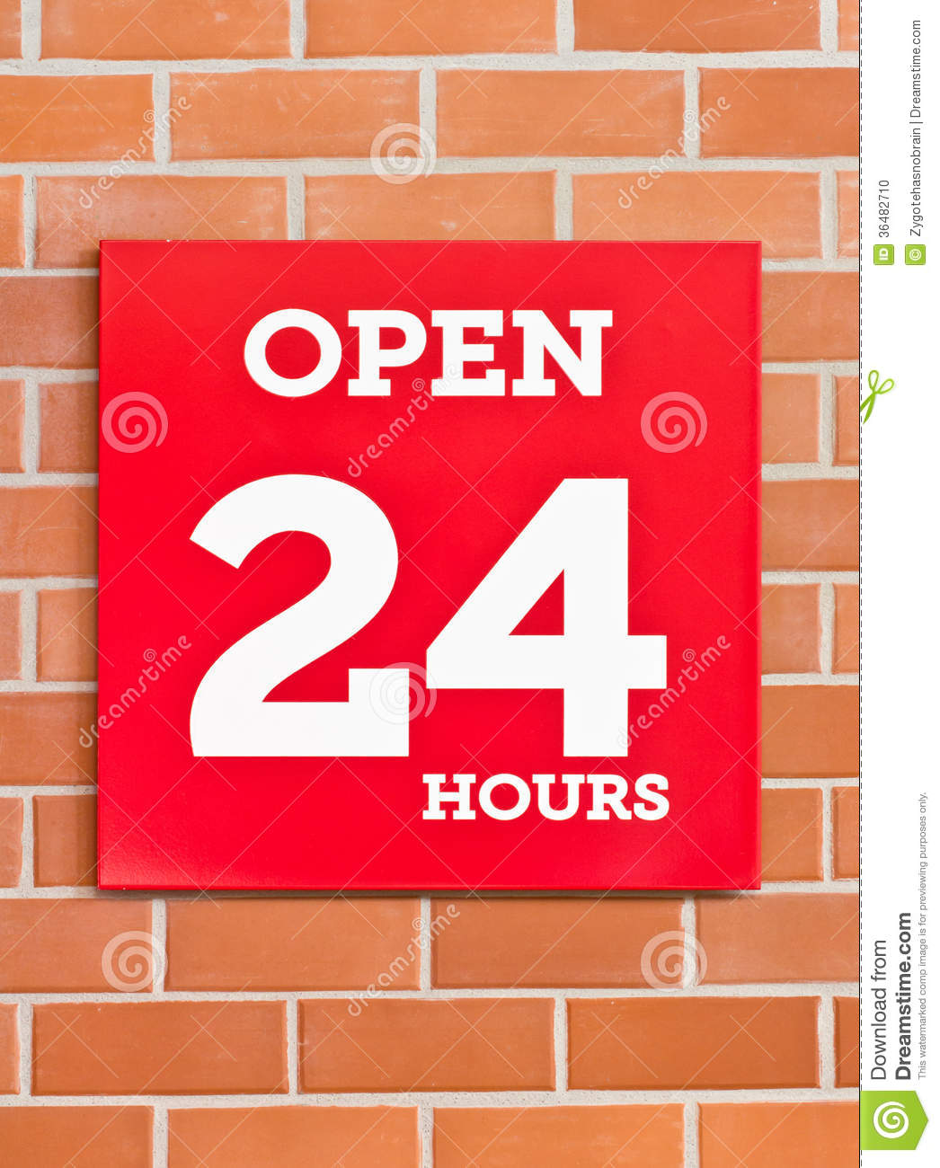 24 Hours Red Signboard.