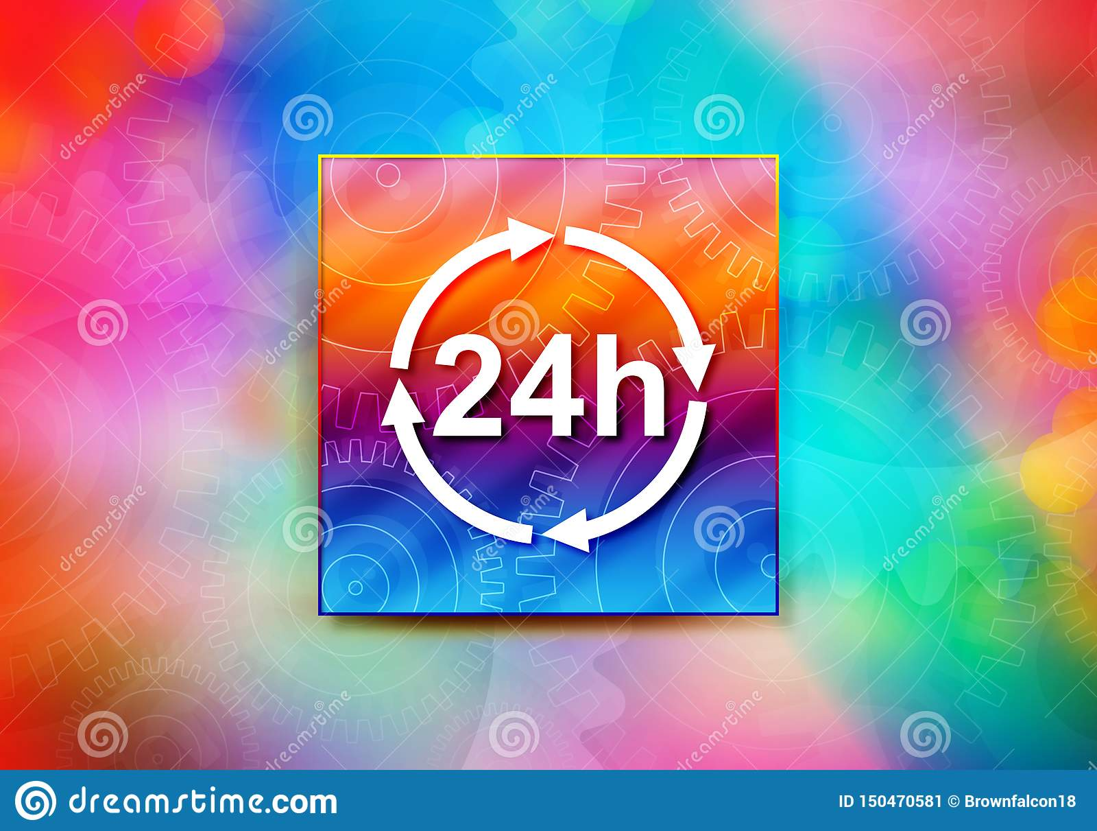 24 hours update icon abstract colorful background bokeh design illustration
