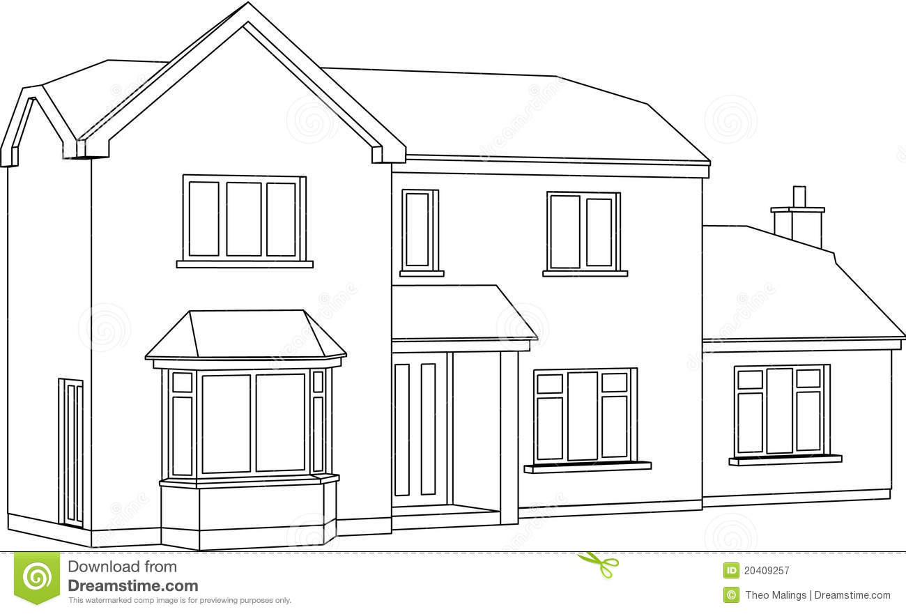 House stock vector illustration of contemporary house for Two story house drawing