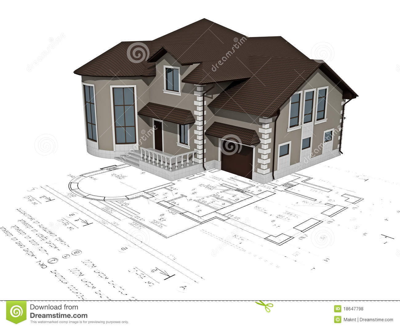 The house 3d image on the plan stock illustration for Costruire casa online 3d gratis