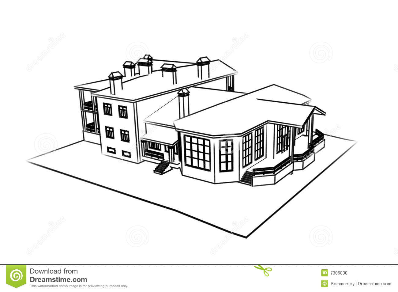 House 3d Technical Draw Stock Photo Image 7306830