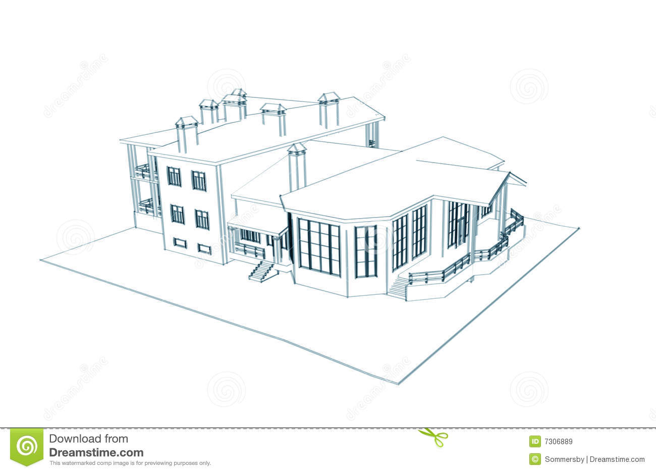 House 3d Technical Draw Royalty Free Stock Images Image