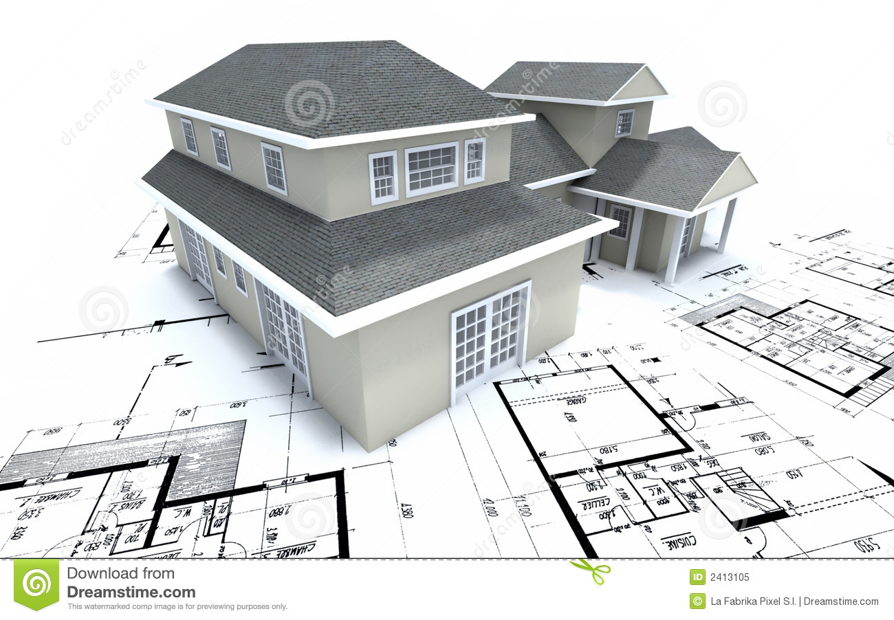 House On Architect Plans Royalty Free Stock Photo Image