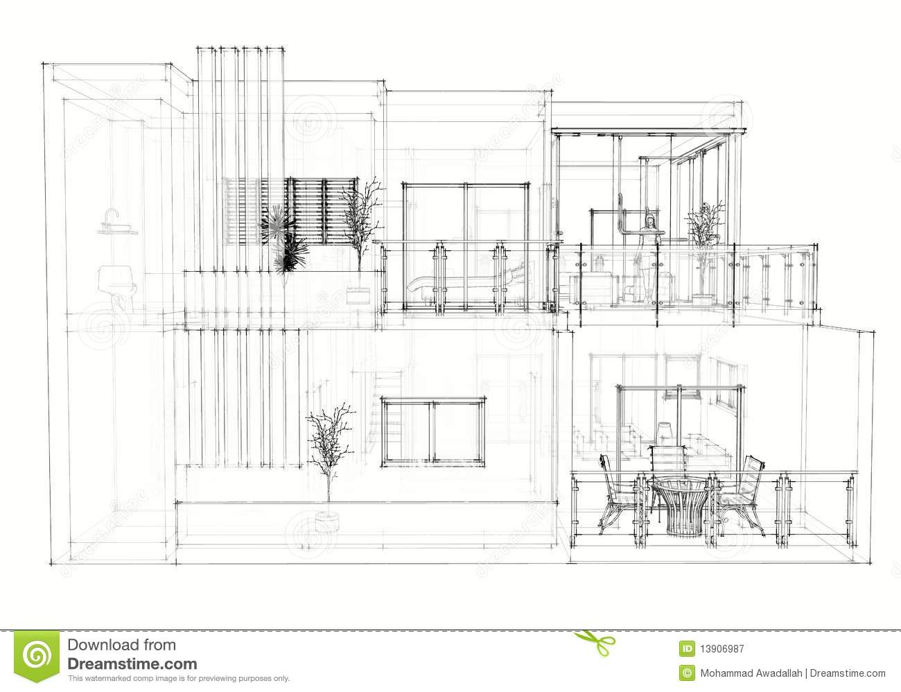 House architecture drawing modern house