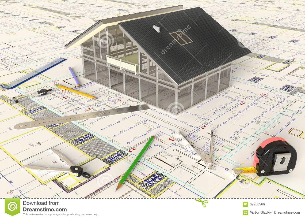 house architectural drawing and layout stock photo image 67887690