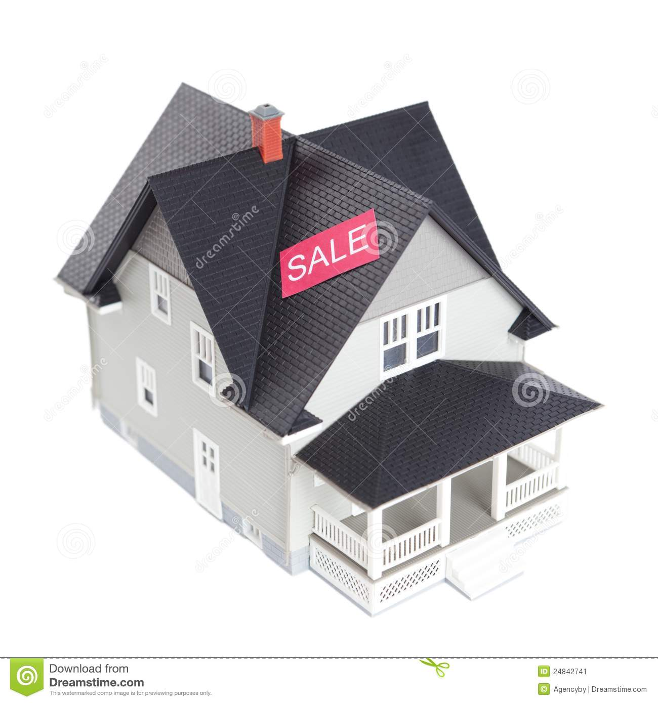 House architectural model with sale sign isolated stock for Architecture models for sale