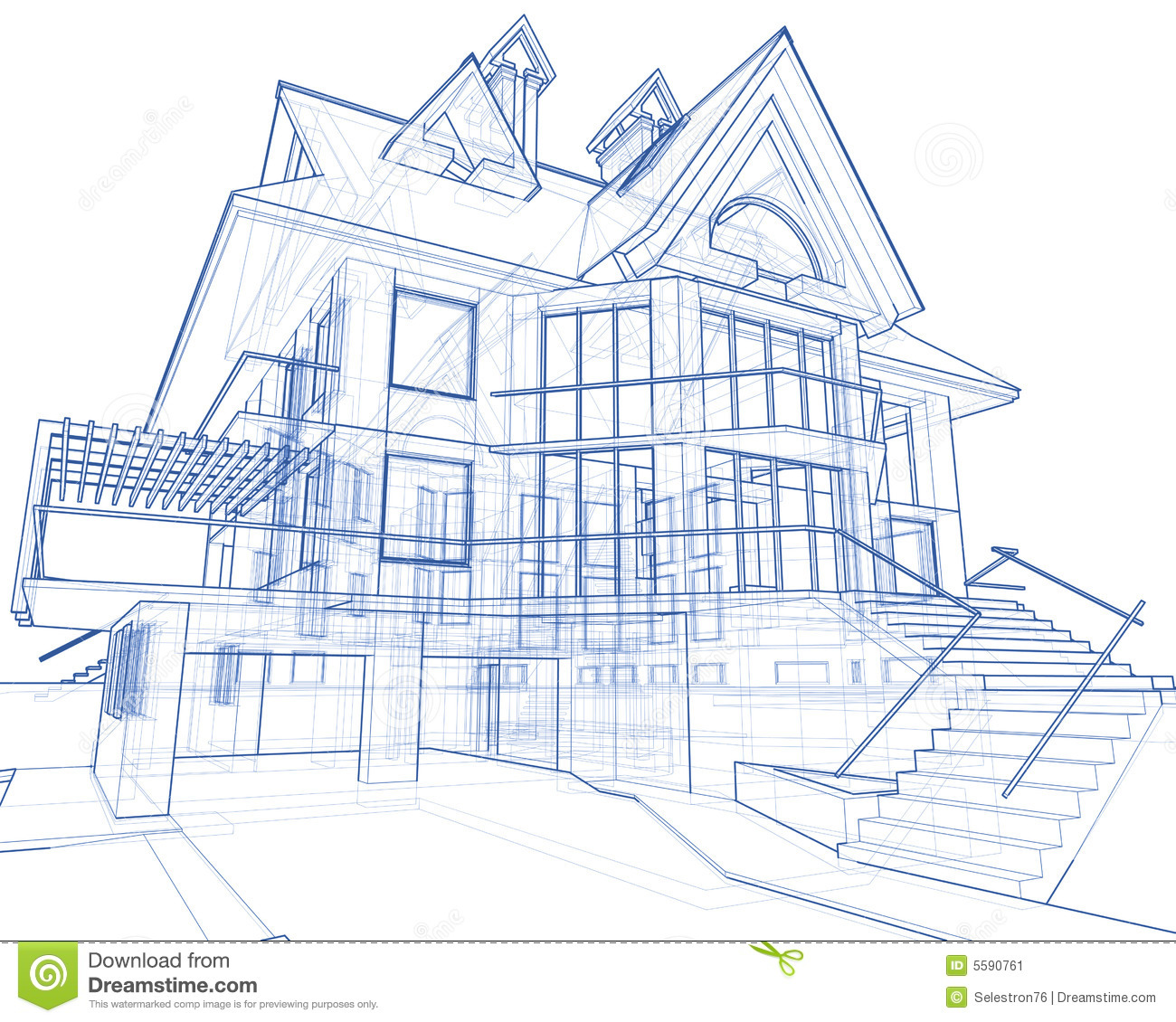 House Architecture Blueprint Stock Illustration