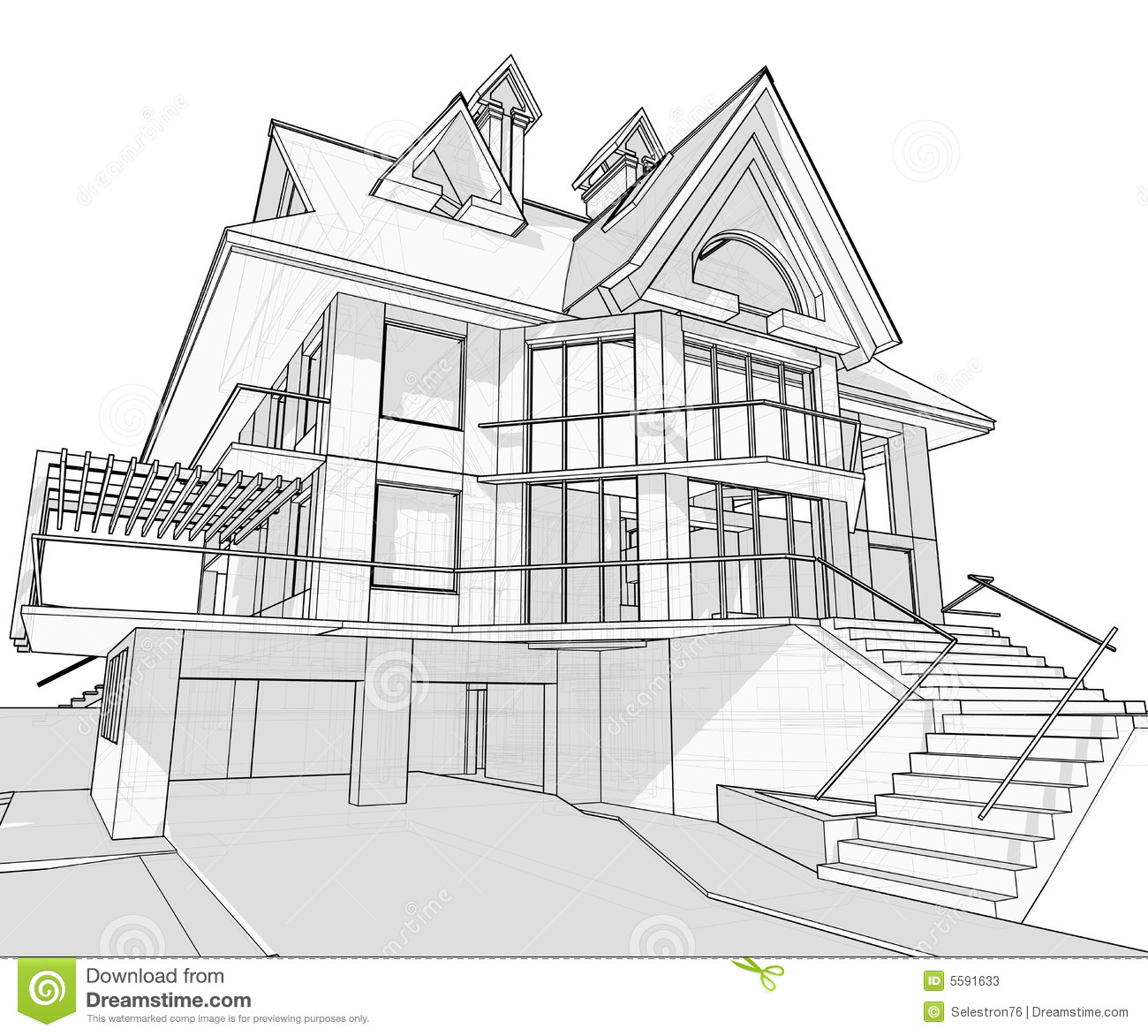 House Architecture Blueprint Stock Vector Illustration