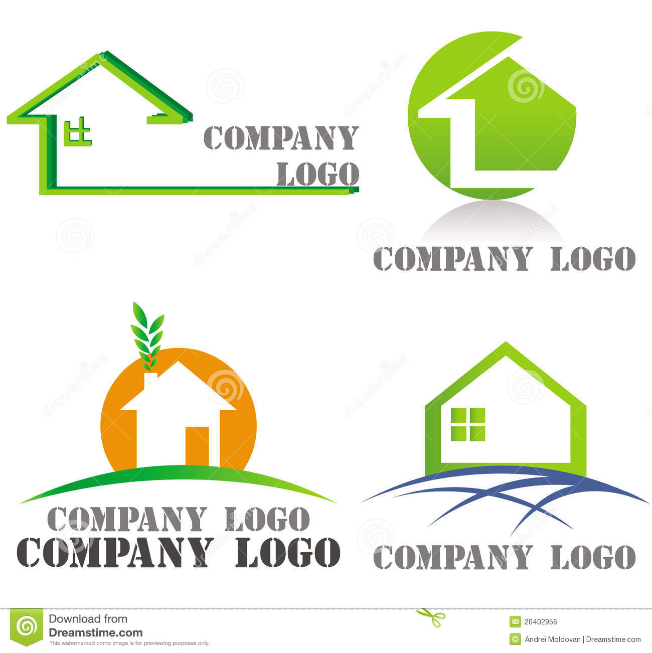 House architecture real estate green logos royalty free for House construction companies