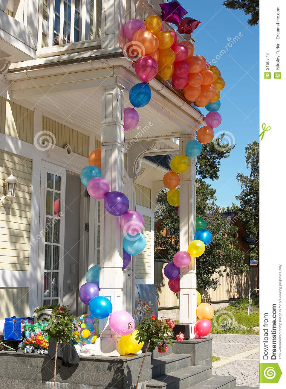 The House With Balloons 5 Stock Image Image Of Colours