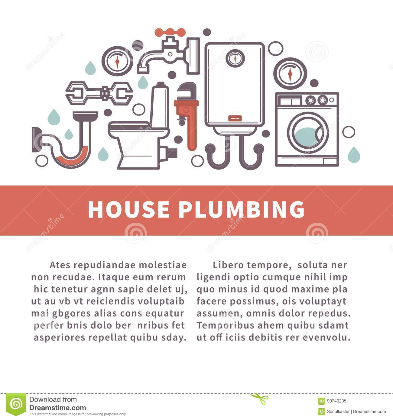 House Bathroom And Kitchen Plumbing Vector Poster Stock Vector Image 90740235