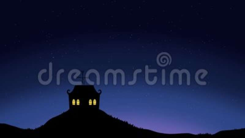 House On A Beautiful Night Sky With Shooting Stars Stock Footage