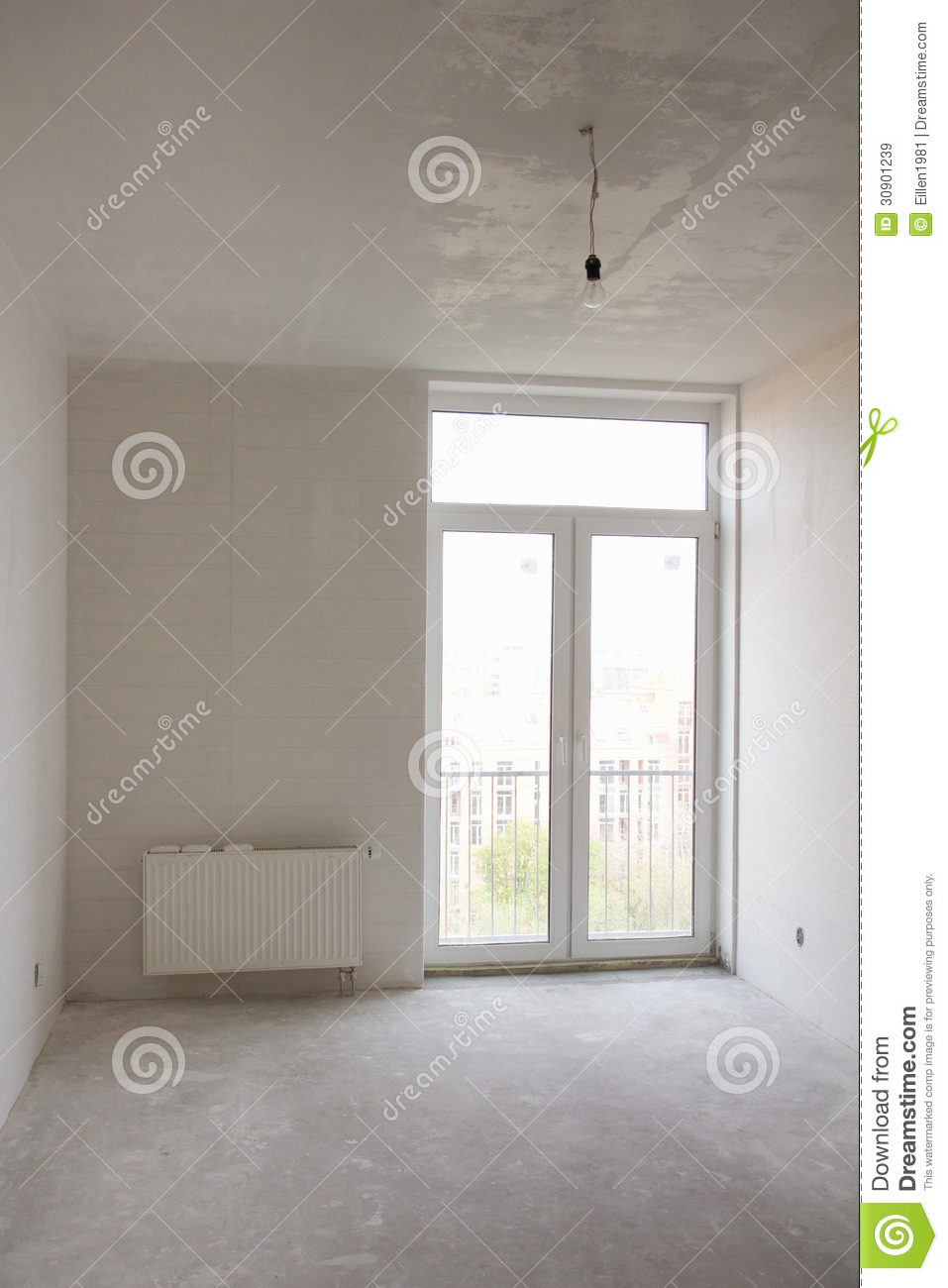 House with big window under construction royalty free for White room wallpaper