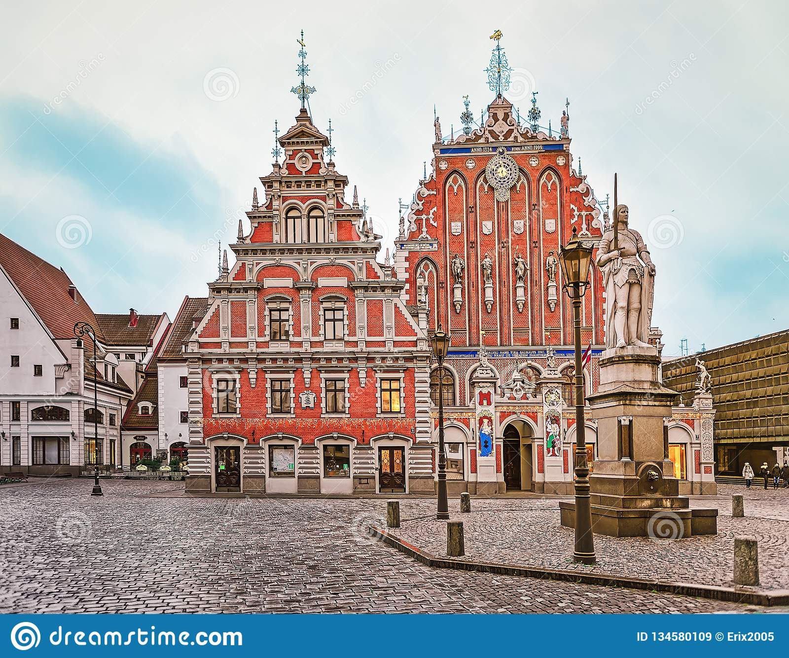 House Of Blackheads And Roland Statue In Riga Stock Image