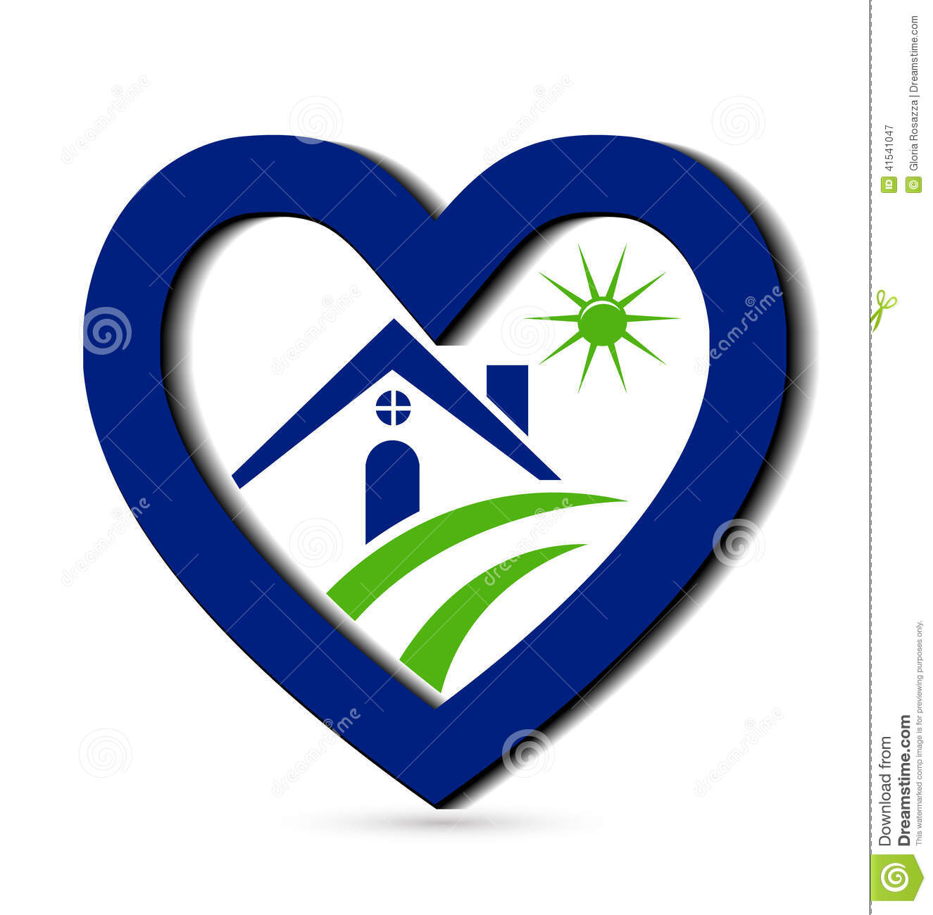 House And Blue Heart Logo Stock Vector Image 41541047