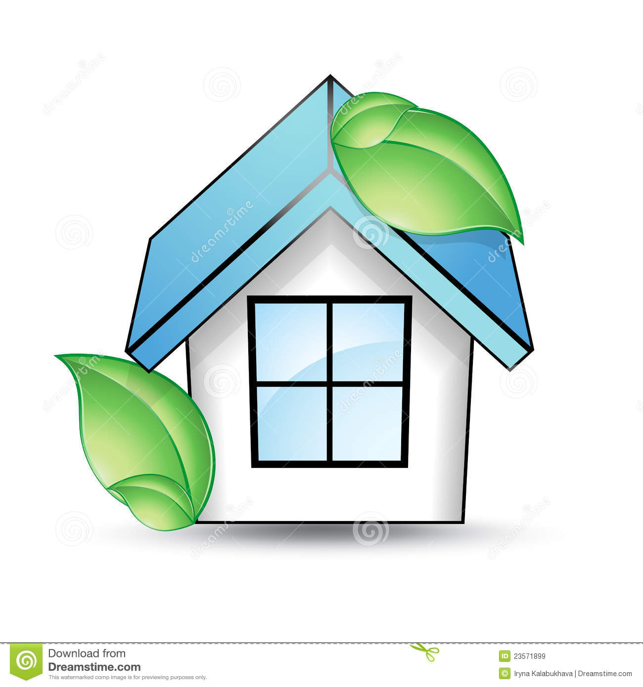 House With A Blue Roof And Green Leaf Royalty Free Stock