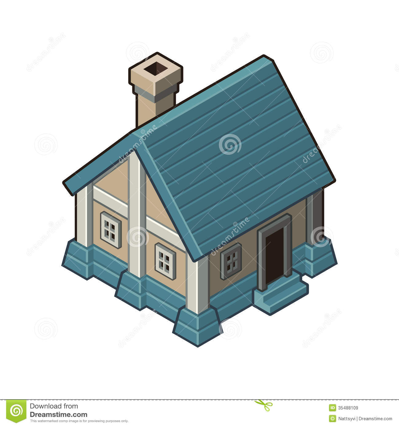 House With Blue Roof Royalty Free Stock Images Image
