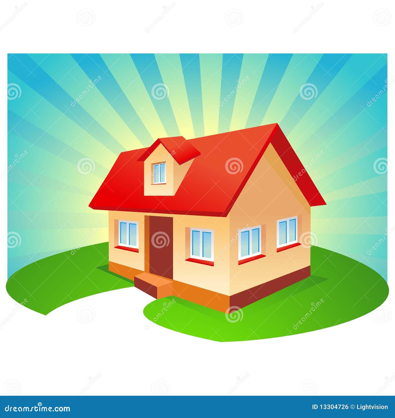 House With Blue Sunburst Background Royalty Free Stock