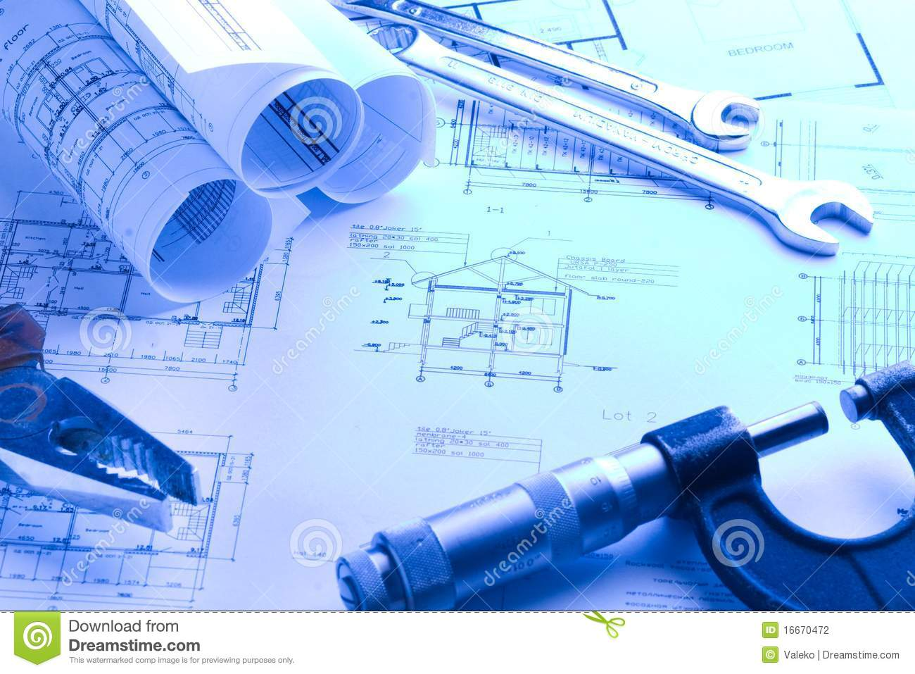 House blueprint with micrometer