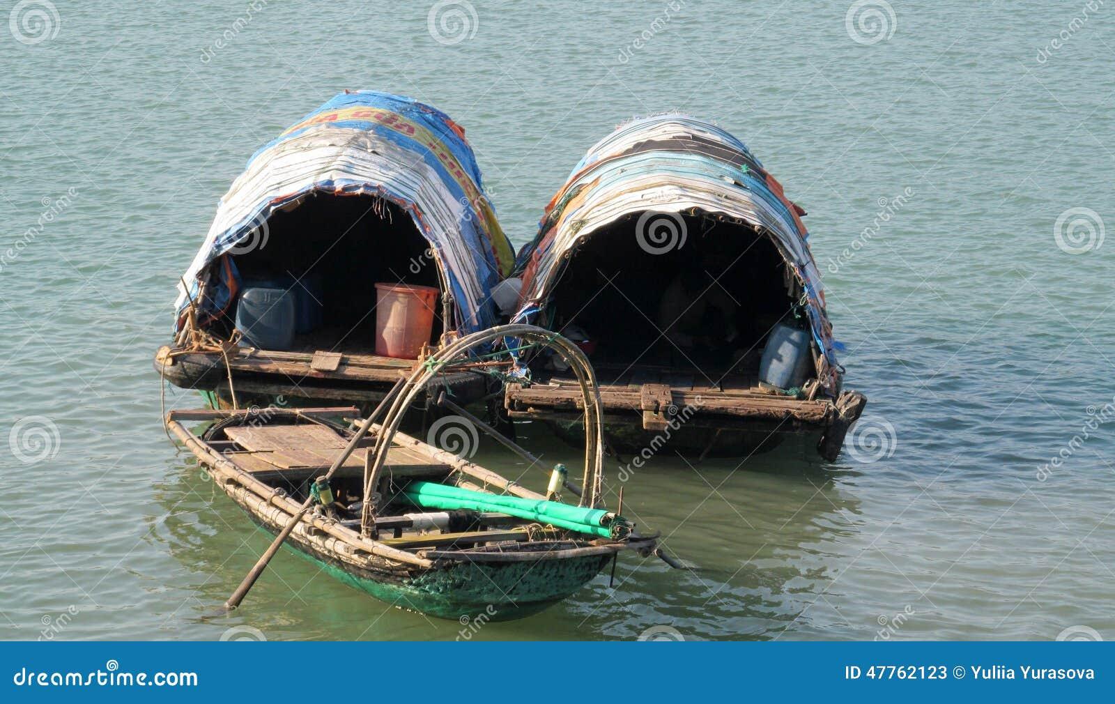 House boat in Ha Long Bay near Cat Ba island, Vietnam