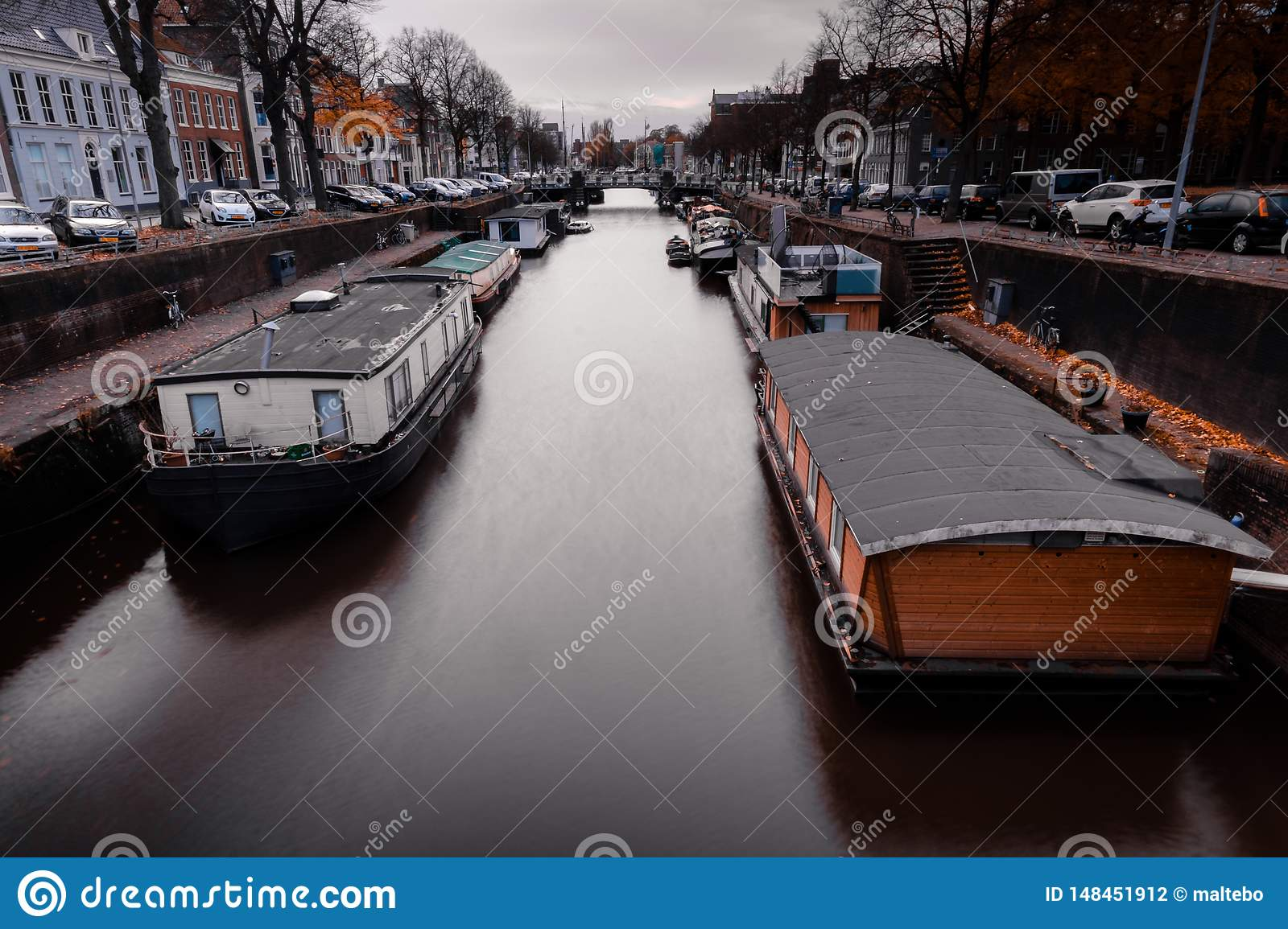 House boats on a canal in the Netherlands
