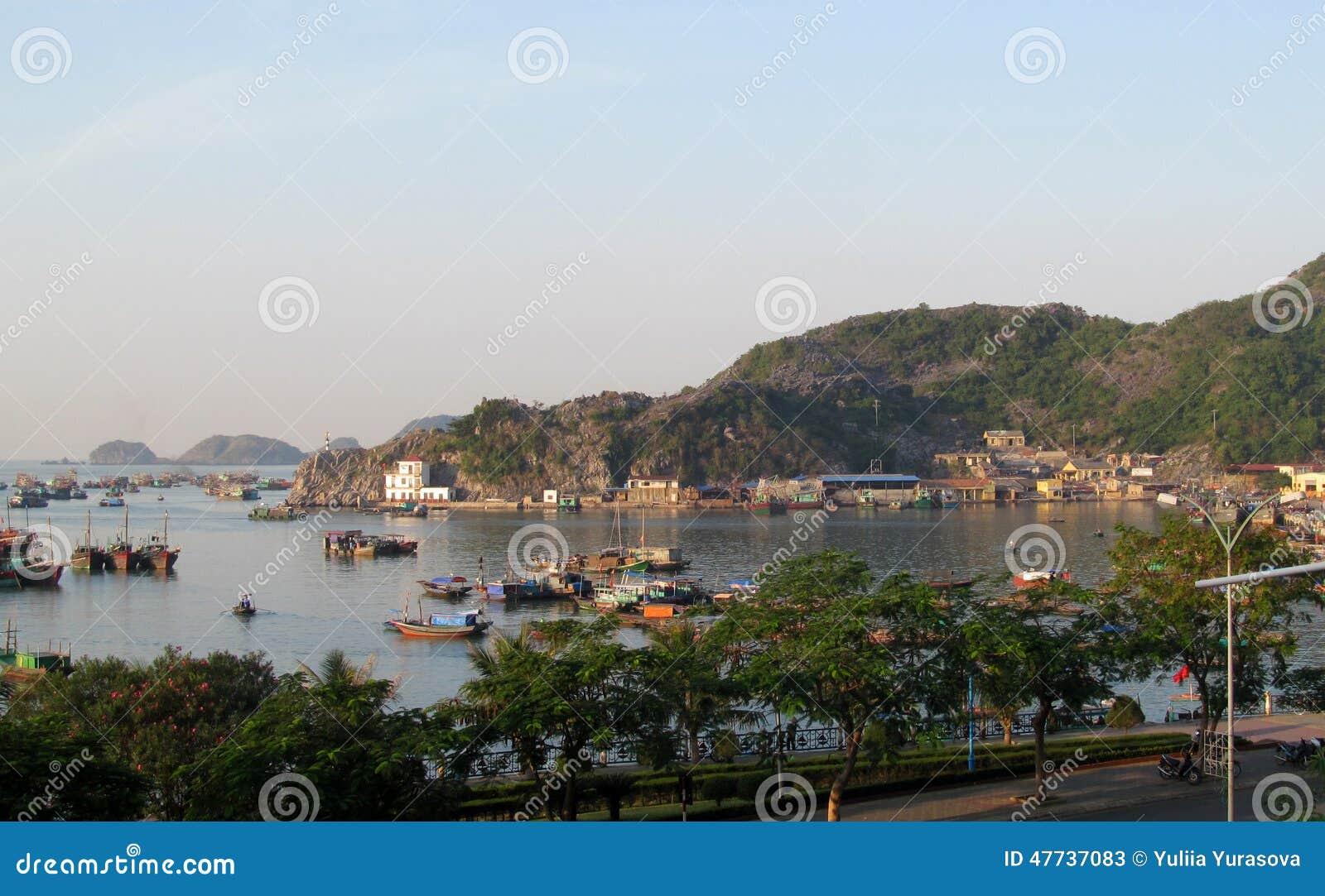 House boats in Ha Long Bay near Cat Ba island, Vietnam