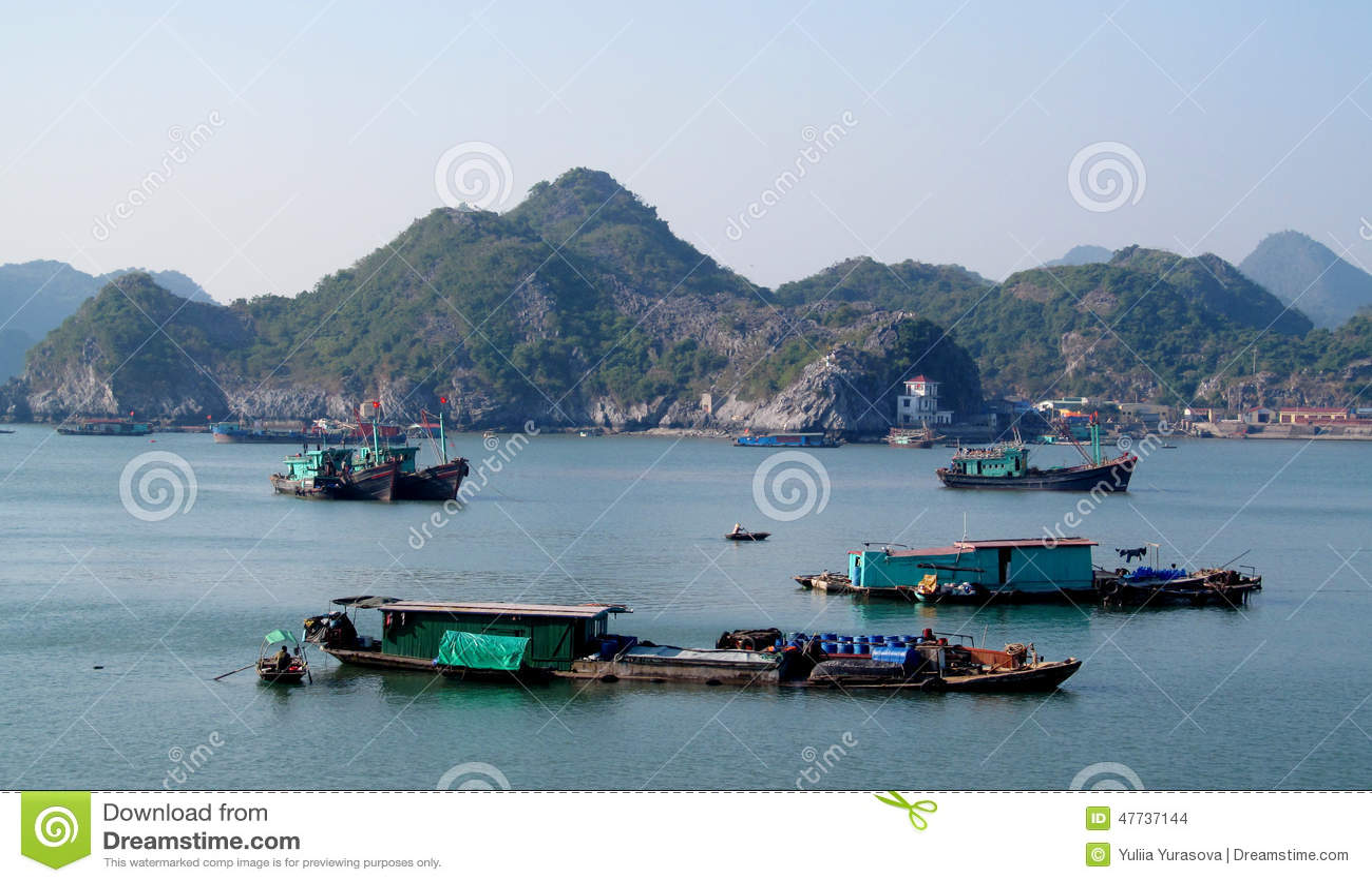 House Boats In Ha Long Bay Near Cat Ba Island, Vietnam Editorial Stock Image - Image: 47737144