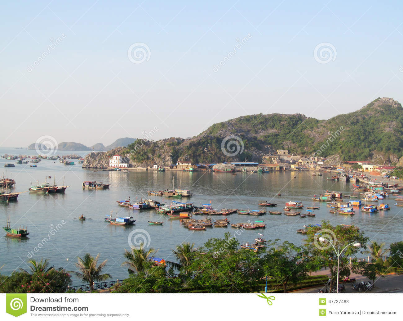 House boats in Ha Long Bay near Cat Ba island, Vietnam