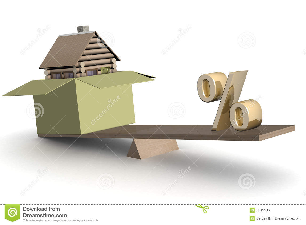 Royalty Free Stock Image: House in box and percent on scales.
