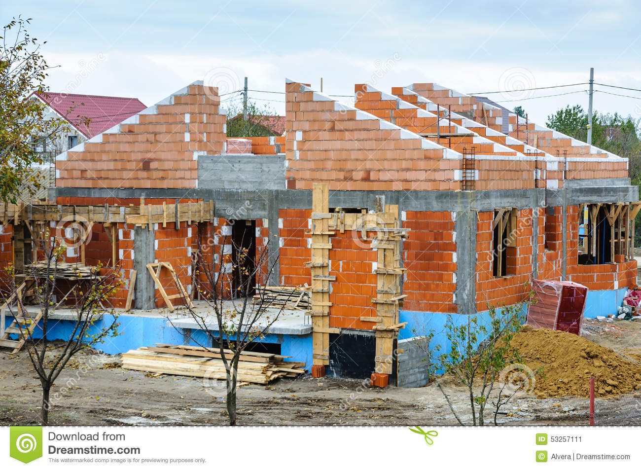 Stock image house brick building work place image 53257111 for Building site house