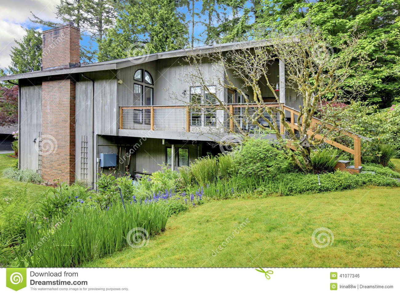 House With Chimney : House with brick chimney stock photo image of curb