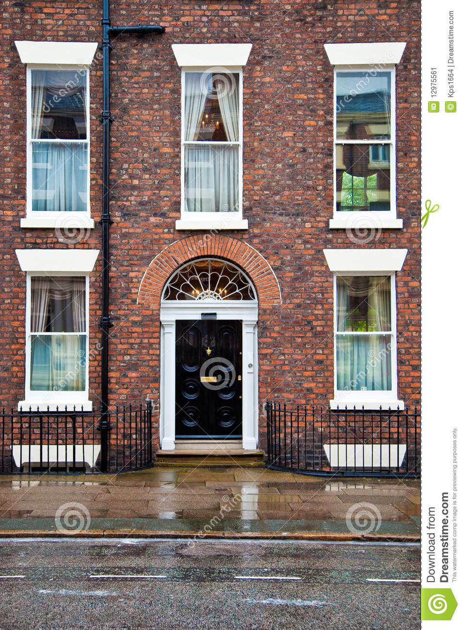 House with brick facade and doorway stock image image for Brick facade house