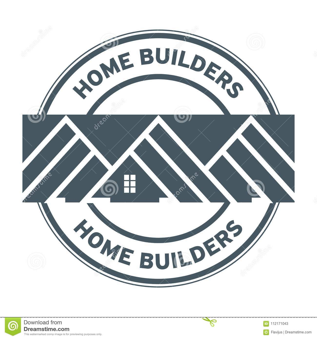 House Builders Stamp Or Sign Minimalistic For Building Industrial Company Vector Illustration