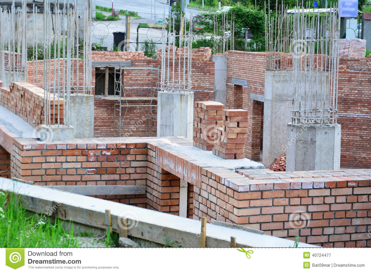 House Building Construction Site Stock Photo Image