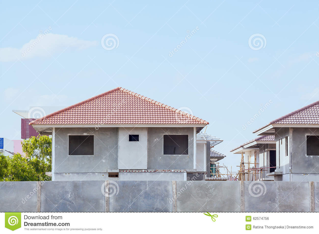 House building and construction site village in progress for House building website
