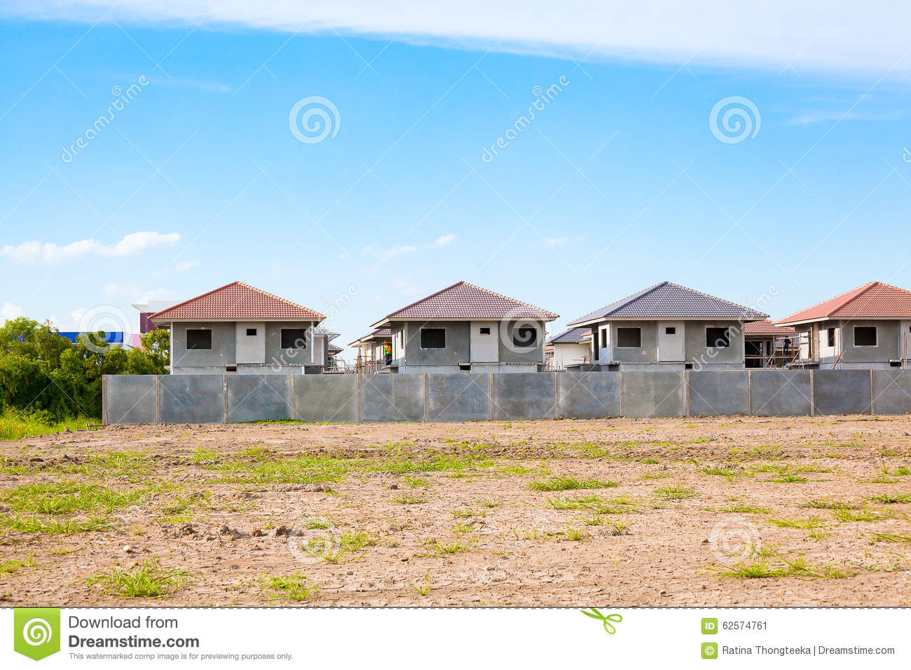 House building and construction site village in progress for Home building sites