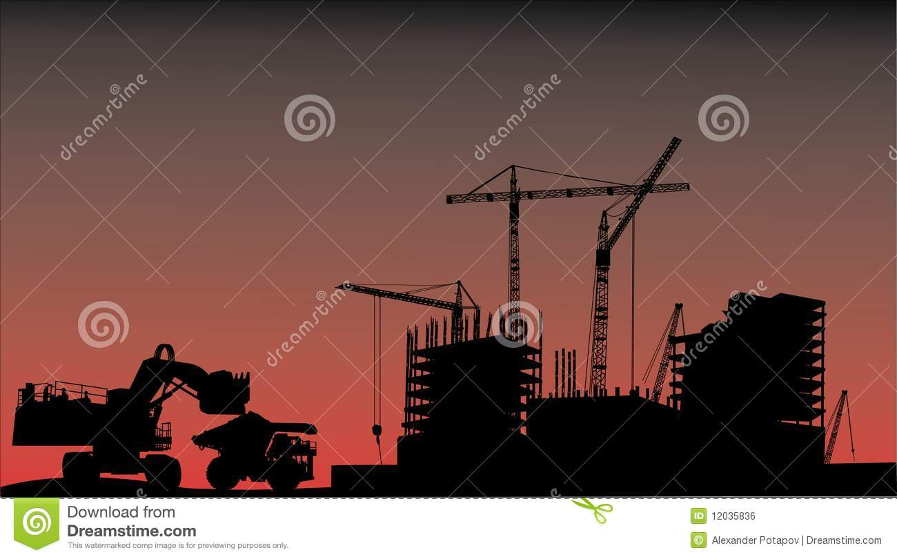 House building, cranes and truck