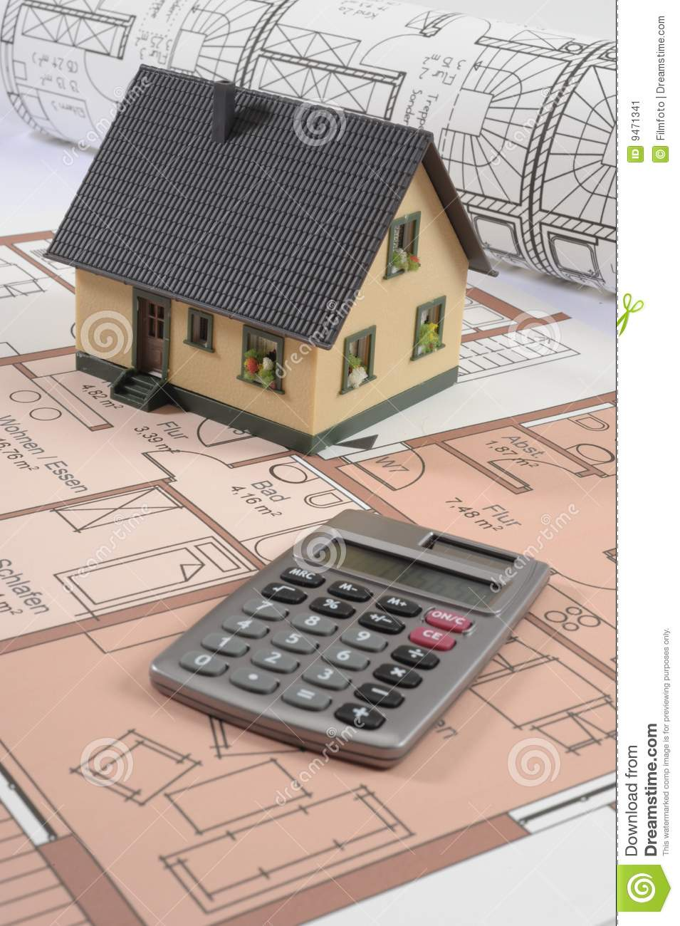 House Building Plan Stock Image Image Of Calculator
