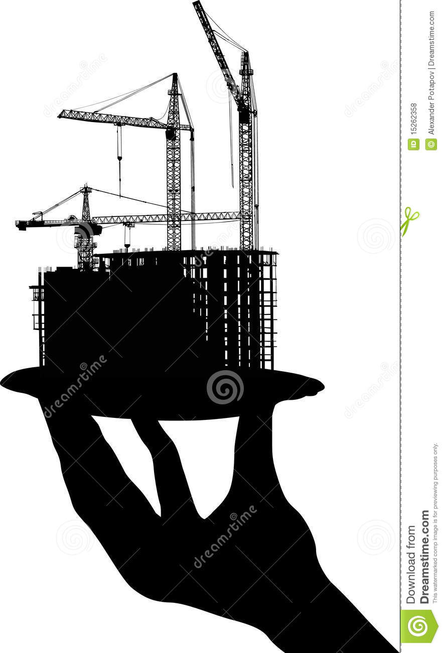 House building on plate in human hand