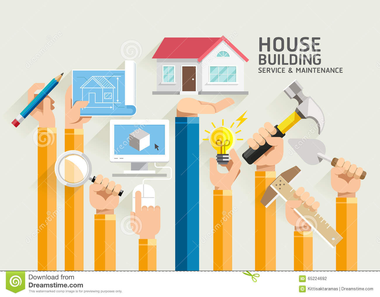 Set houses and blueprint vector stock vector illustration 35897210 house building service and maintenance stock photography malvernweather Choice Image