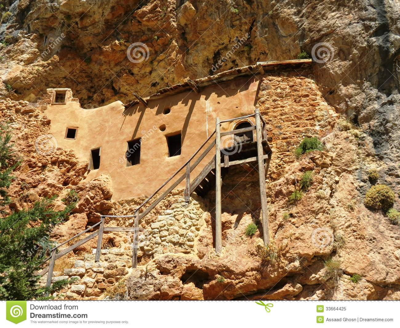 A house built inside the mountain royalty free stock House built into mountain