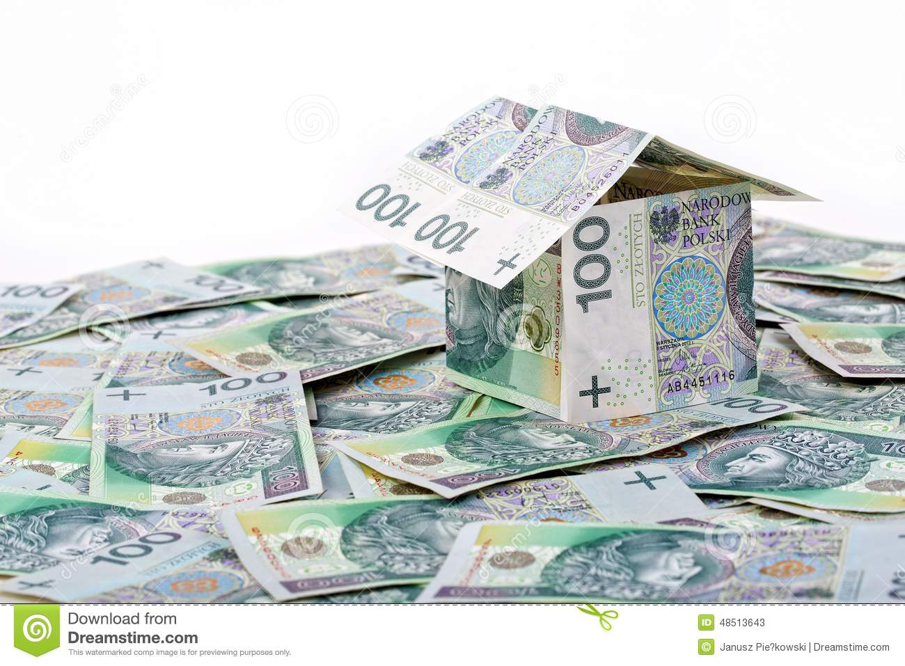 House built with polish money stock photo image 48513643 for Free money to build a house