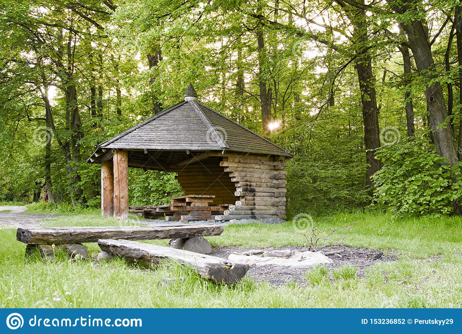 House On A Camping Stock Photo Image Of Forest Outdoor 153236852