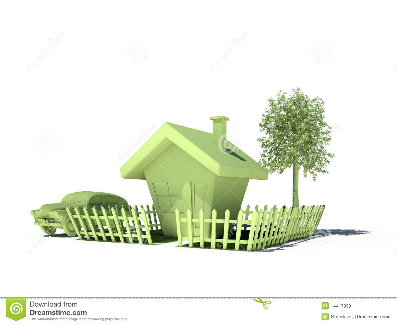 House Car Tree Real Estate Immobile 3d Cg Royalty Free