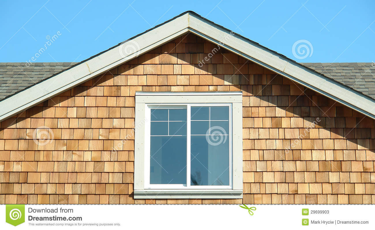 House Cedar Siding End Gable Section Stock Photos Image