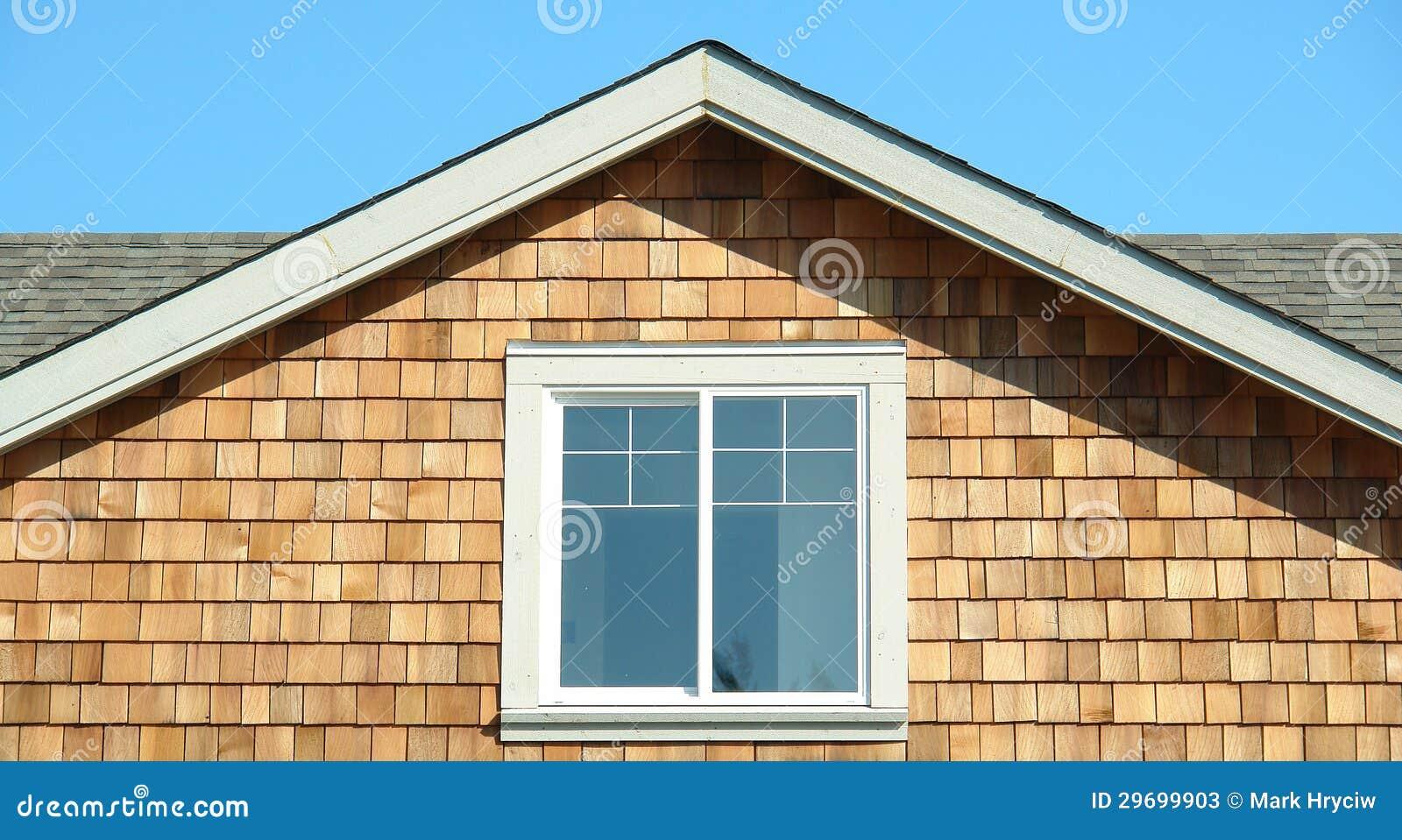 House cedar siding end gable section stock photos image for Shakes on house